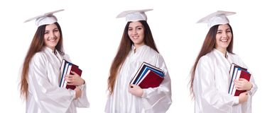 The woman graduate isolated on white. Woman graduate isolated on white royalty free stock image