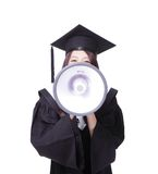 Woman graduate student happy with megaphone Stock Image