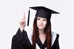 Woman graduate student touch something Stock Photo