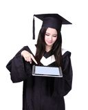 Woman graduate student using tablet pc Stock Images