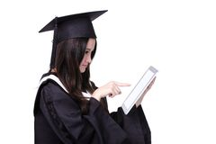 Woman graduate student using tablet pc Royalty Free Stock Images
