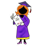 Woman graduating from school. Silhouette-woman graduating from school Stock Images