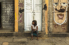 A woman with Graffiti Art in Sao Paulo, Brazil Stock Image