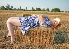 Woman in grain field Stock Photos