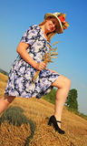 Woman in grain field Royalty Free Stock Photography