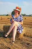 Woman in grain field Royalty Free Stock Images
