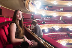 Woman in The Gran Teatre del Liceu. Portrait of woman in The Gran Teatre del Liceu, famous opera house in Barcelona royalty free stock photography