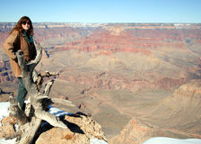 A Woman at the Grand Canyon in Arizona Stock Photos