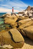 Woman on Grand Rocks stock images