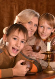 Woman with  grandchildren Royalty Free Stock Photos