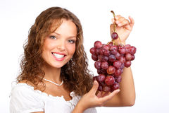 Woman with grape Royalty Free Stock Photo