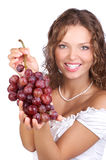 Woman with grape Royalty Free Stock Photos