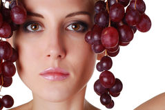 Woman with grape Stock Photos