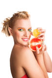 Woman with grapefruit Stock Photography