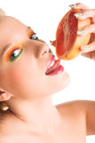 Woman with grapefruit Stock Images