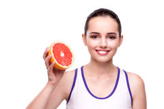 The woman with grapefruit isolated on white Stock Images