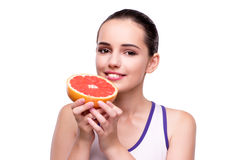 The woman with grapefruit isolated on white Royalty Free Stock Image