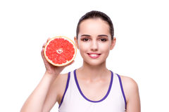 The woman with grapefruit isolated on white Royalty Free Stock Photos