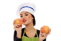 Woman with grapefruits Stock Photo