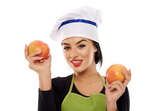 Woman with grapefruits Royalty Free Stock Image