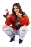 Woman with Grapes Stock Image