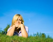 Woman on grass Stock Photography