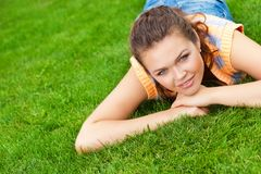 Woman on grass Royalty Free Stock Photos