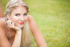 Woman grass Stock Images