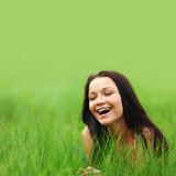 Woman on grass Royalty Free Stock Photography