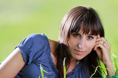 Woman in grass 3 Royalty Free Stock Photography