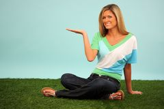Woman In Grass Royalty Free Stock Photography