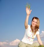 Woman and Grass Royalty Free Stock Images