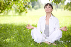 Woman on grass. Attractive brunette woman relaxing on grass Royalty Free Stock Image
