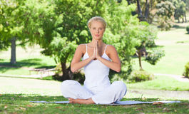 Woman on the grass doing yoga exercises Royalty Free Stock Photo