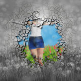 Woman on grass field vector illustration
