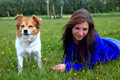 Woman in the grass with her dog Stock Image