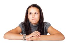Woman in Gray Blouse Sitting Stock Photo