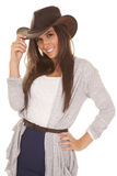 Woman gray and blue western hat tip smile Stock Image