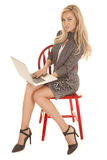 Woman gray business dress sit laptop smile Royalty Free Stock Images