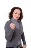 Woman in the gray cardigan Royalty Free Stock Image