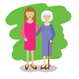 Woman and gray-haired, old wpman vector illustration. Grand mother family theme Royalty Free Stock Images