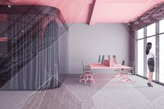 Woman in gray open space office with meeting room stock illustration
