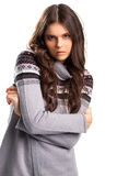 Woman in gray pullover. Lady with long brown hair. Alluring look of young model. Romance and temptation Stock Photo