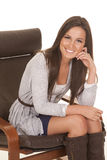 Woman gray shirt sit smile Stock Photos