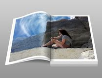Woman in Gray Shirt Sitting over Brown Formation of Rock during Daytime Book Royalty Free Stock Photos