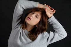 Woman in Gray Sweater Royalty Free Stock Photos