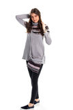 Woman in gray sweatshirt. Royalty Free Stock Photos