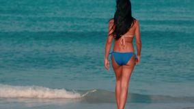 Woman with a Great Body walking into beautiful ocean stock footage