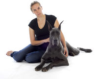Woman and great dane Royalty Free Stock Images