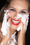 Woman with great makeup and shaving cream Royalty Free Stock Photography